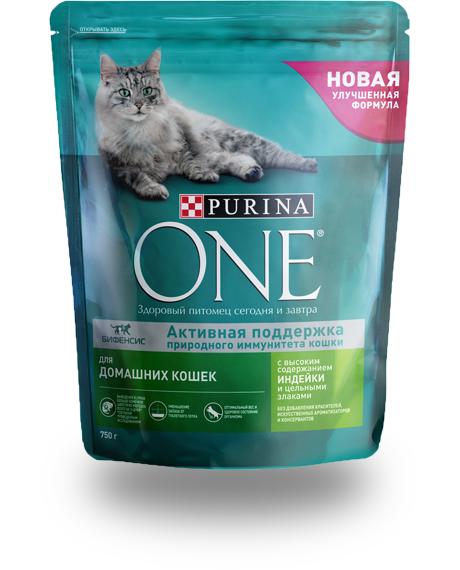 Сухой корм для домашних кошек с индейкой и цельными злаками Purina ONE®